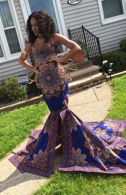 Teenager Slays In African Print Prom Dress After White