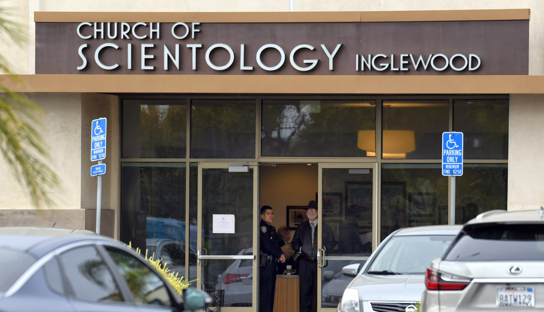 Police pictured outside a Church of Scientology in Inglewood, California in March 2019