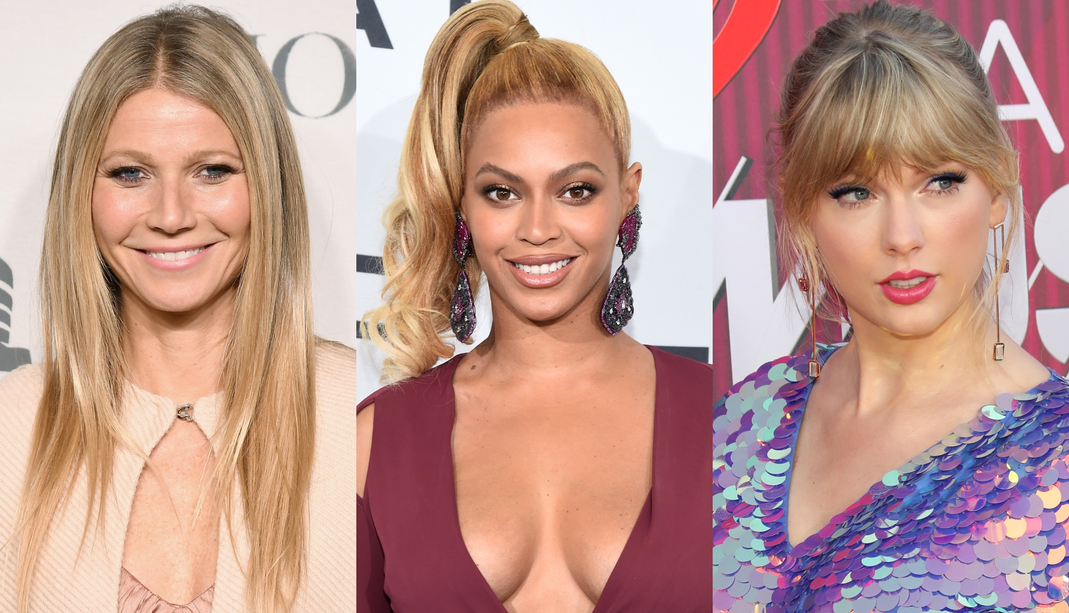 Gwyneth Paltrow, Beyonce Knowles, and Taylor Swift