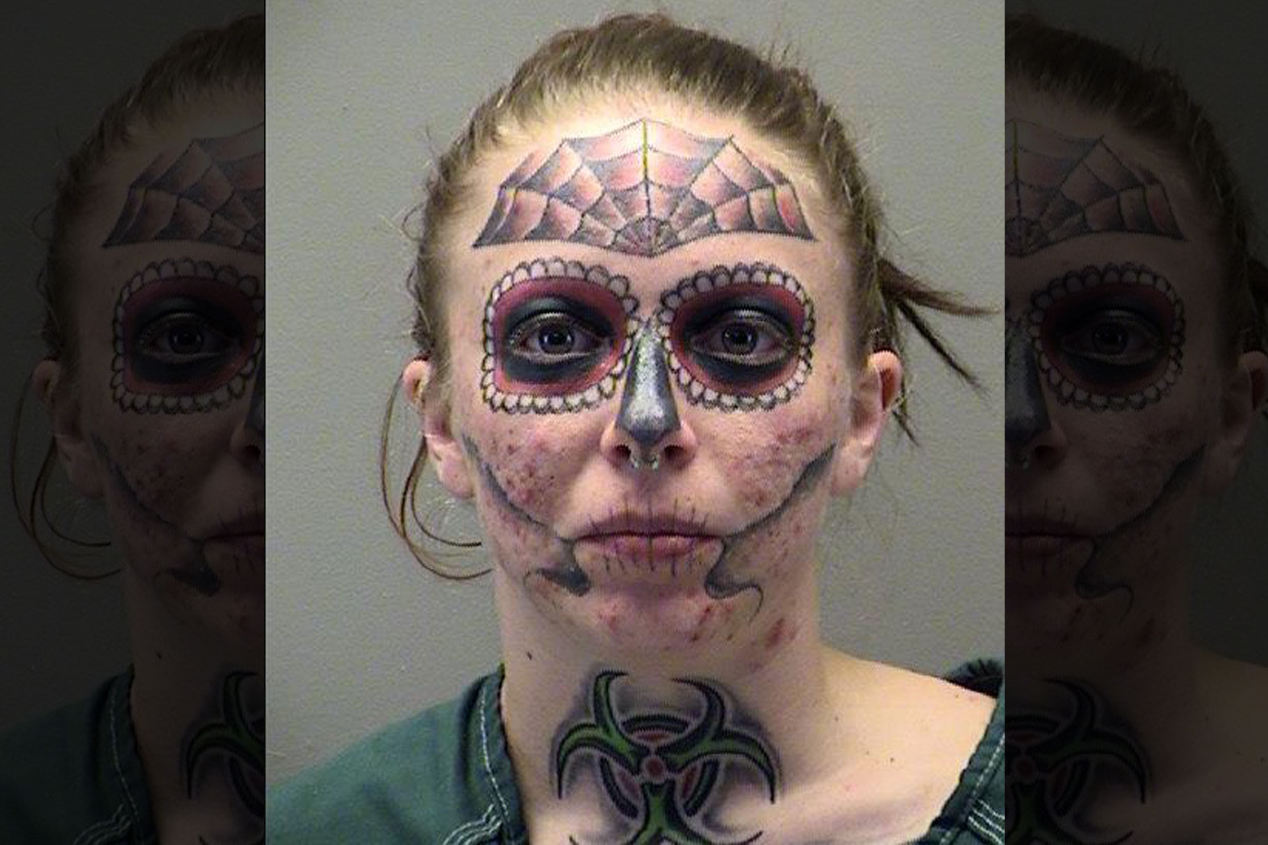 82e6347c09a82 Woman's 3rd Arrest In 5 Months Means Her Spooky Face Tattoo Can Go Viral  Yet Again