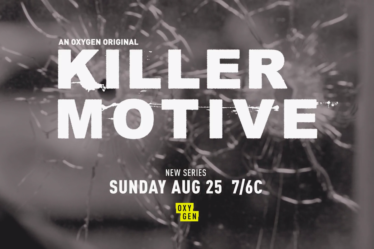 "Creative image of Oxygen's new series ""Killer Motive"" tune-in."