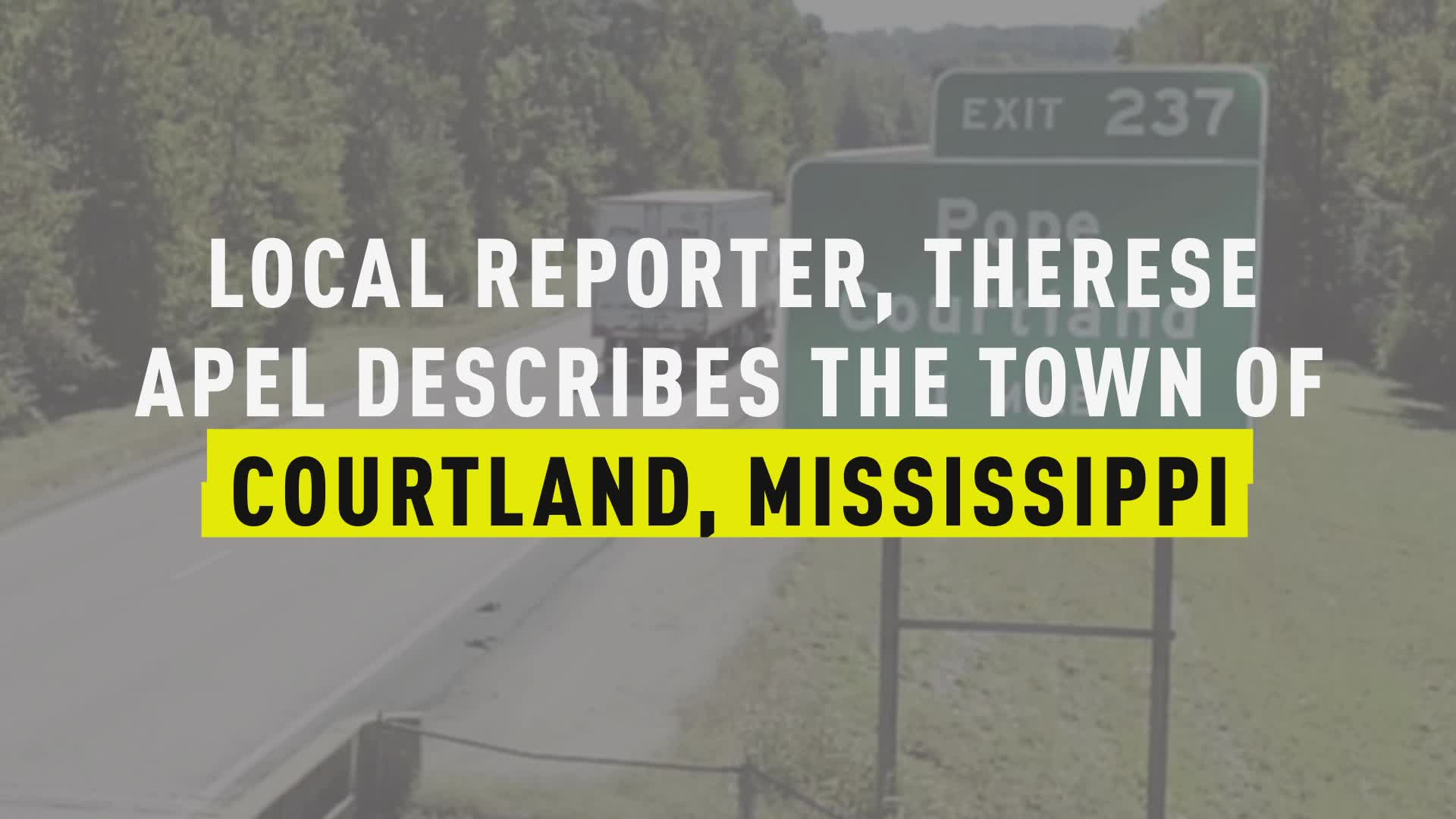 Local Reporter, Therese Apel Describes the Town of Courtland, MS