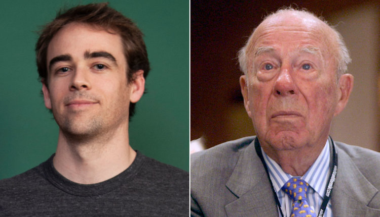 Whistleblower Tyler Shultz, pictured left, alongside his grandfather, former Theranos board member and U.S. secretary of state, George Shultz.