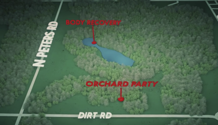 "Map from ""Smiley Face Killers: The Hunt for Justice"" of Todd Geib's death site."