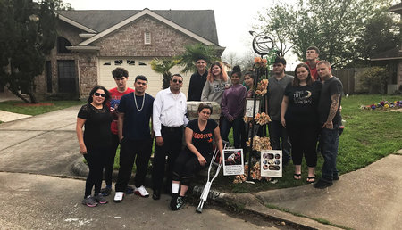 The Martinez family's memorial for their dog Zero, who was killed in a shooting at their Houston home on March 10.