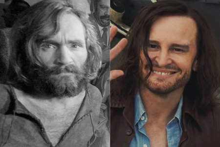 Charles Manson and Damon Herriman