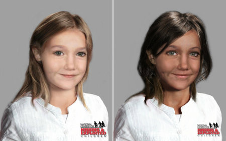 Side by side age progression images of Madeleine McCann